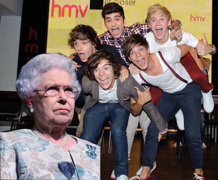 One Direction and the queen