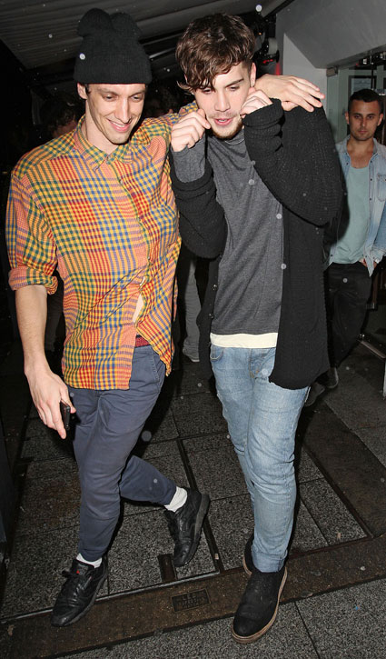 Aiden Grimshaw looking a bit worse for wear as he came out of Salon nightclub in London
