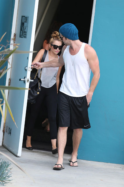 Miley Cyrus and Liam Hemsworth attend a pilates class together