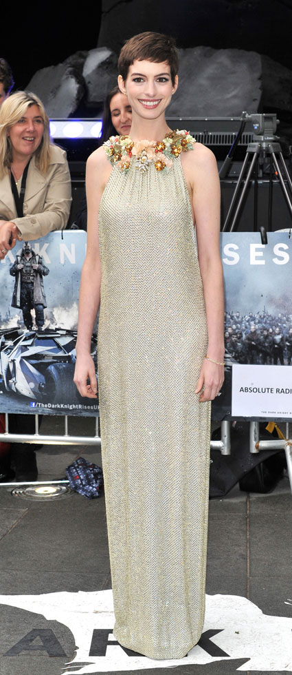 Anne Hathaway arrives on the red carpet at the European Premiere of The Dark Knight Rises