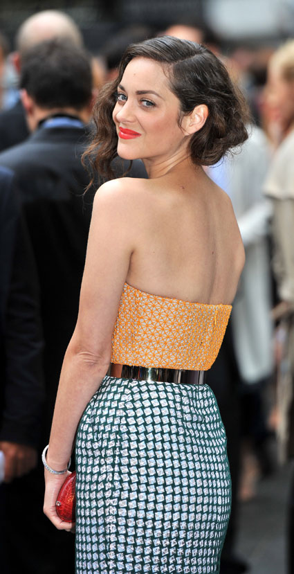 Mario Cotillard arrives on the red carpet at the European Premiere of The Dark Knight Rises