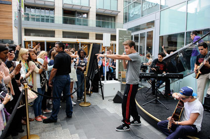 One Direction band members, Niall Horan and Liam Payne, make a surprise visit to Westfield London, Shepherd's Bush'