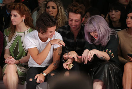 Harry Styles, Kelly Osbourne and Nick Grimshaw at House of Holland LFW SS13 show. One Direction images - sugarscape.com