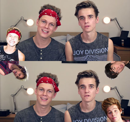 joe sugg and caspar lee do impressions of the 5 seconds of