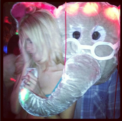 Harry Styles wears giant elephant mask leaving The Groucho in London - Harry Styles images - sugarscape.com