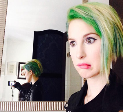 Hayley Williams from Paramore unveils brand new neon green dyed hair do - Images - Sugarscape.com