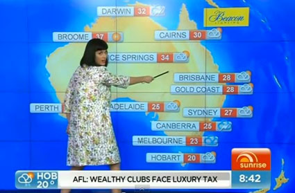 Katy Perry presents the weather on Australian TV show Sunrise - images - Sugarscape.com