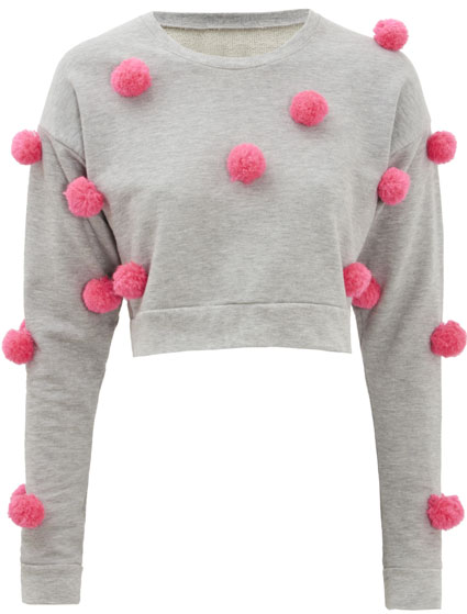 Little Mix's Perrie Edwards in crop pom pom sweatshirt - get the look
