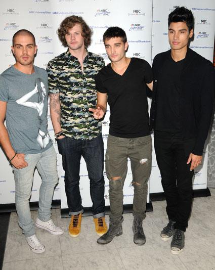The Wanted meet and gret fans at NBC store in New York