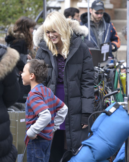 emma stone filming the amazing spider-man