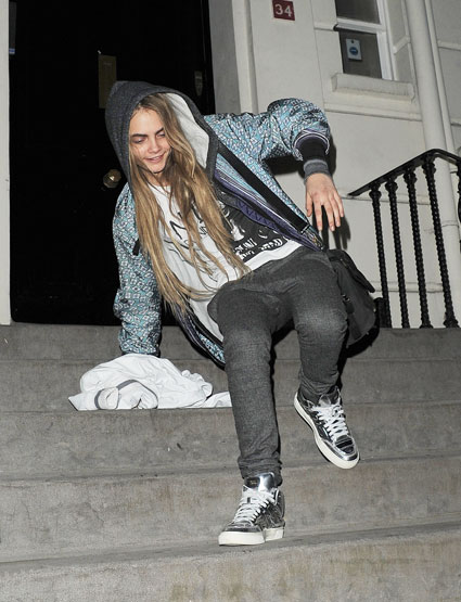 cara delevingne leaving a house party
