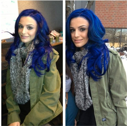 cher lloyd with bright blue hair