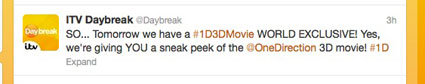itv daybreak one direction movie exclusive