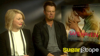 Safe Haven's Josh Duhamel and Julianne Hough talk ugly cry faces, kissing and becoming a dad - WATCH