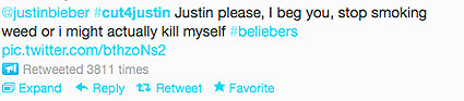justin bieber cutting tweet