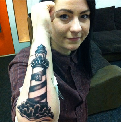 lucy spraggan lighthouse tattoo