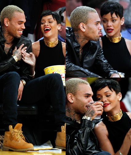 rihanna and chris brown at basketball