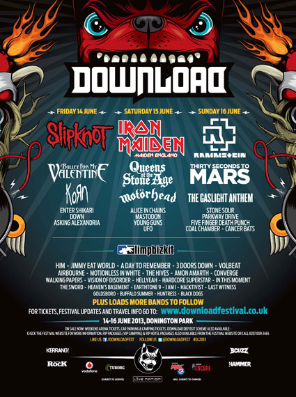 Download add 37 new acts to the bill - Korn, Enter shikari, bullet for my valentine, jimmy eat world