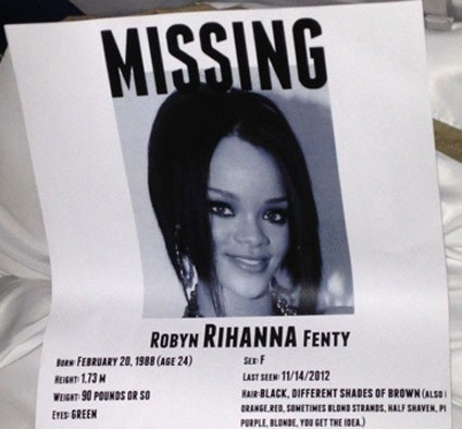 rihanna missing poster from 777 plane