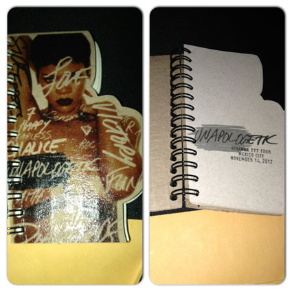 rihanna 777 tour notebook