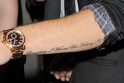 Tatto Sayings on Liam Payne   S New Arm  Quote Tattoo    One Direction Updates