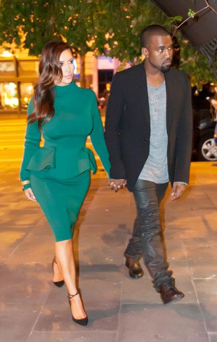 kim kardashian kanye west date in rome green peplum dress