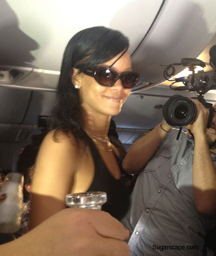rihanna on her 77 tour plane