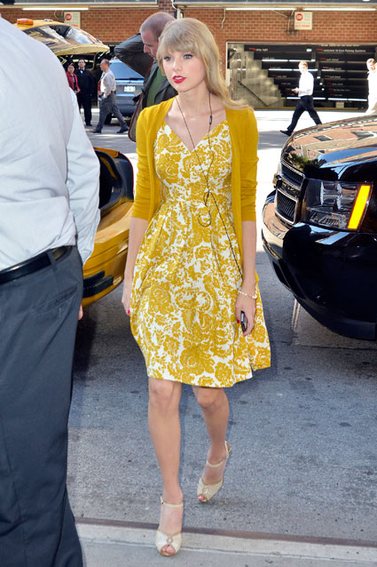 taylor swift in yellow dress in new york