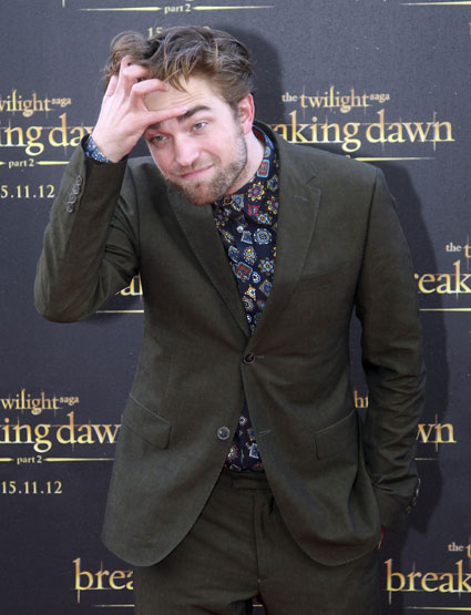 Robert Pattinson in the world's most mental paisley shirt for Australian Breaking Dawn Part 2 promo