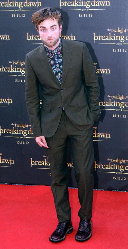 Robert Pattinson in the world's most mental paisley shirt for Australian Breaking Dawn Part 2 promo