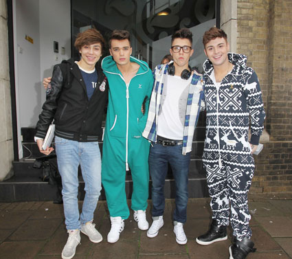 X Factor contestants Ella Henderson and Union J head to rehearsals in onesies. FIT PICS HERE
