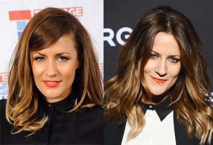 caroline flack with new side fringe