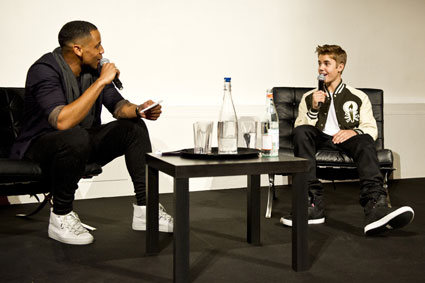 justin bieber and reggie yates at his believe album playback