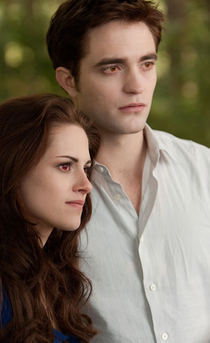 robert pattinson and kristen stewart as bella swan and edward cullen in breaking dawn part 2