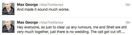max george tweets about michelle keegan wedding