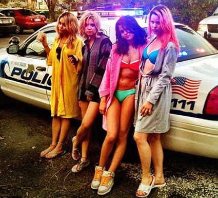 selena gomez getting arrested behind the scenes of spring breakers