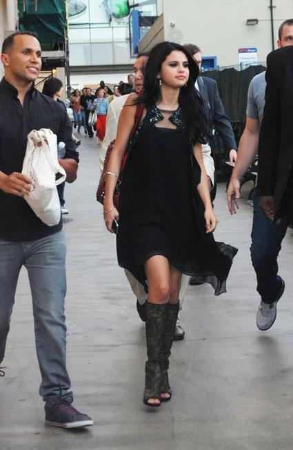 selena gomez knee high boots los angeles