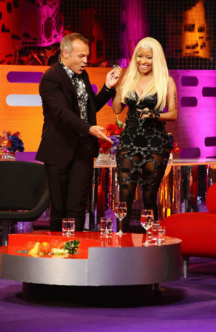 Nicki Minaj in bondage dress on Graham Norton show