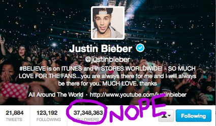 justin bieber fake followers