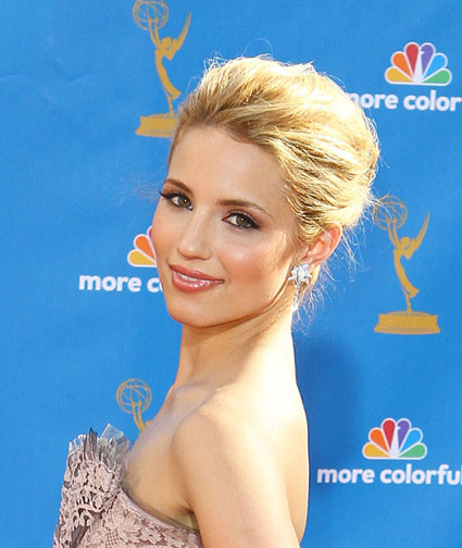 Dianna Agron's cute dishevelled updo complements her strapless dress