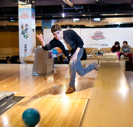 Zayn Malik bowling at photoshoot of Nintendo