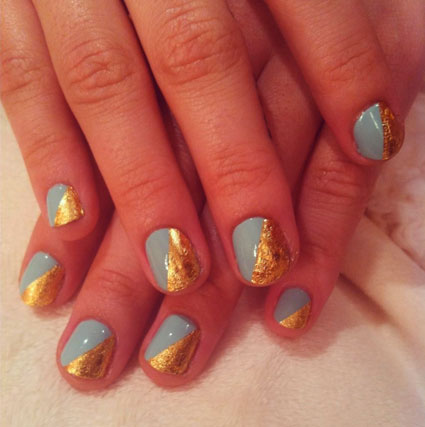 demi lovato nail art blue and gold