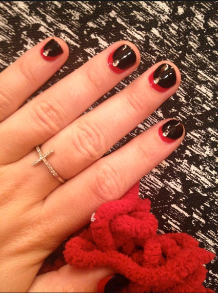 demi lovato nail art red and black