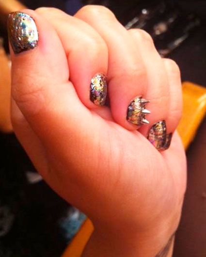 demi lovato nail art spikes