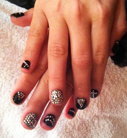 demi lovato studs nail art