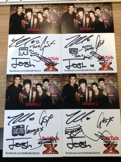 union j win postcards