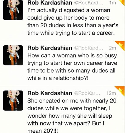 Rob Kardashian apparently tweets to say Rita Ora cheated on him more than 20 times. Ouch.
