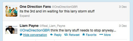 Liam Payne comments on Larry Stylinson tweet
