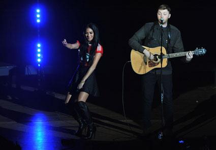 X Factor home visits: Nicole Scherzinger and James Arthur ride motorbikes through Middlesborough
