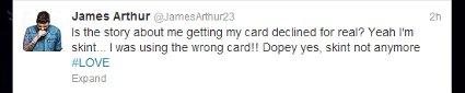 james arthur credit card tweet